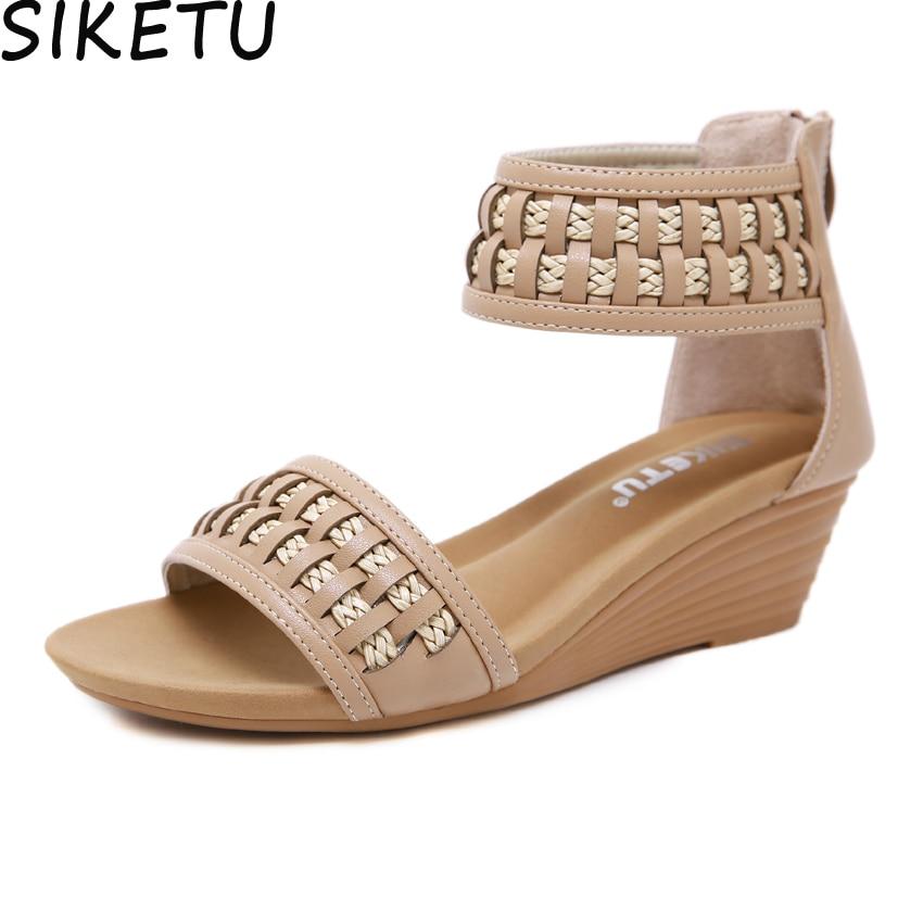 SIKETU Women Elegant Comfort Sandals Ankle Wrap Bohemia Sandals Boho Shoes Summer Beach Med Heel Platform Wedge Heels Plus Size