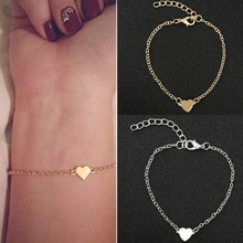 Cute Fashion Love Heart Chain Bracelets for Women Girls Gold Silver Charm Bracelet Femme Statement Hand Jewelry