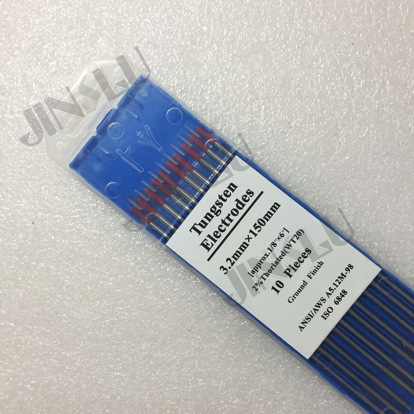 10PCS 2% red tip WT20 Thorium Tungsten electrode 3.2mm for TIG welding