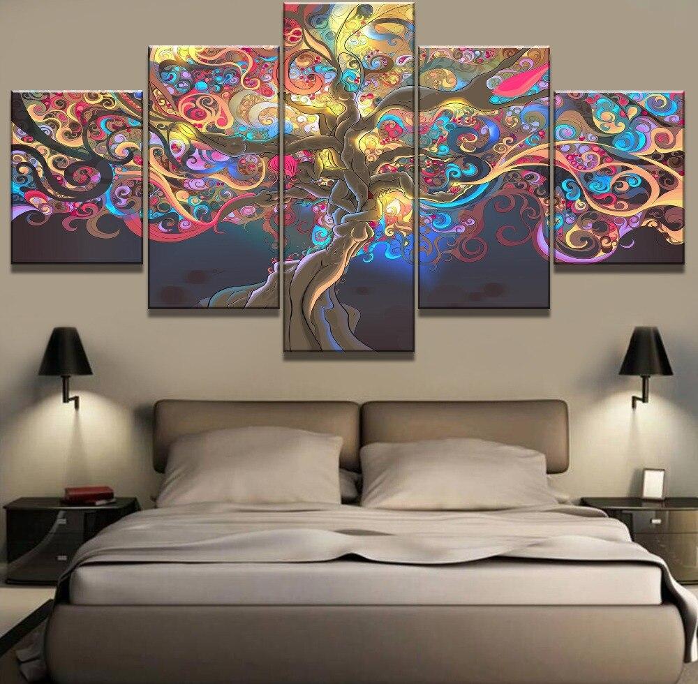 Cuadros 5 piezas de arte de lona enmarcados con Árbol de la vida decoración pinturas sobre lienzo arte de pared para el hogar decoraciones de pared decoración artística