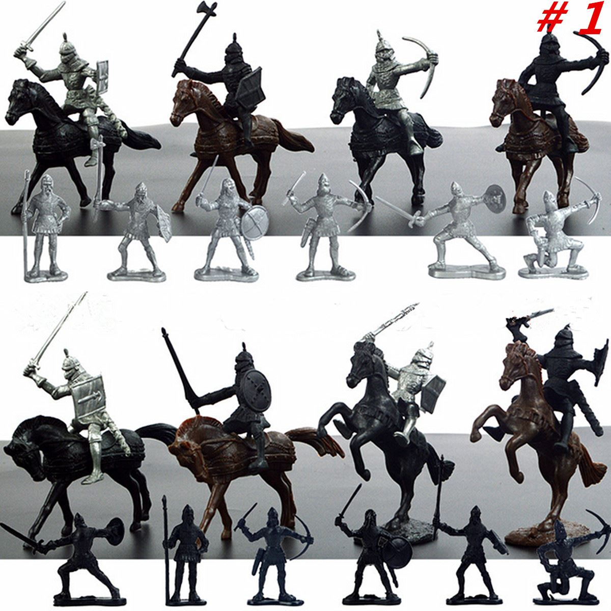 28 unids/set s Guerrero caballos Medieval soldados de juguete figuras de Juego Mini modelo juguetes regalo decoración para niños adultos