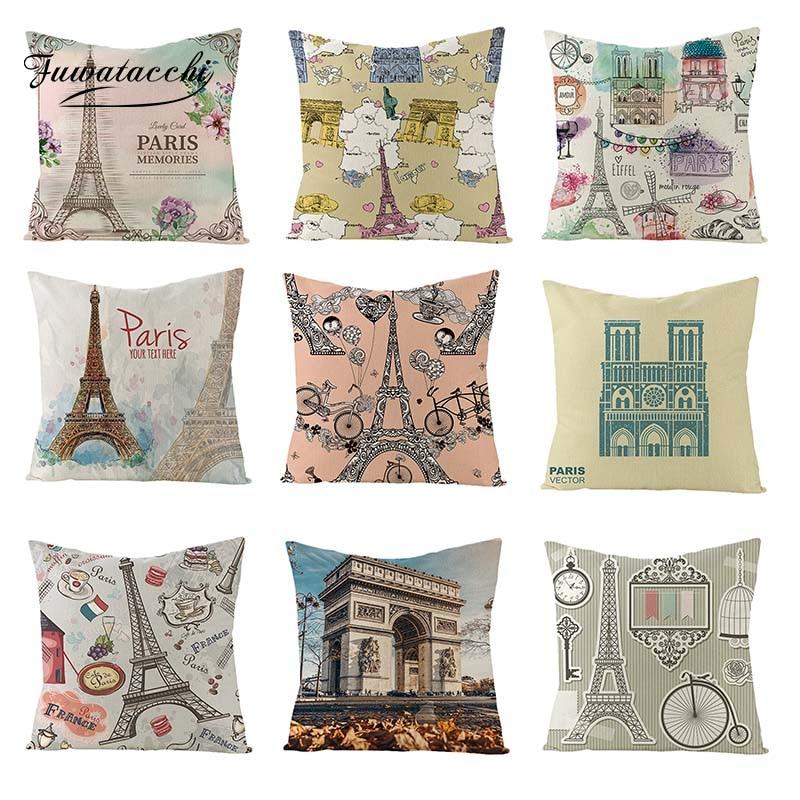 Fuwatacchi Scenic Oil Paintings Linen Cushion Cover Paris Throw Pillow Arc De Triomphe Square 45X45 Pillowcases