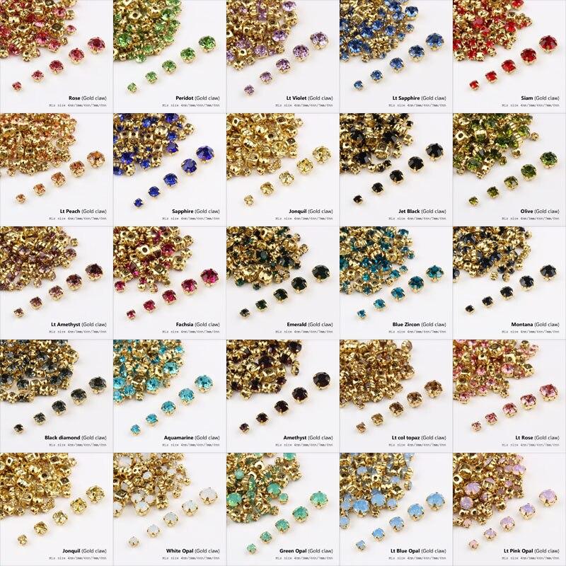 Karışık boyut dikili taklidi 24 renk ve altın pençe cam taş kristal DIY dekorasyon için ayakkabı ve şapkalar bagaj dekorasyon