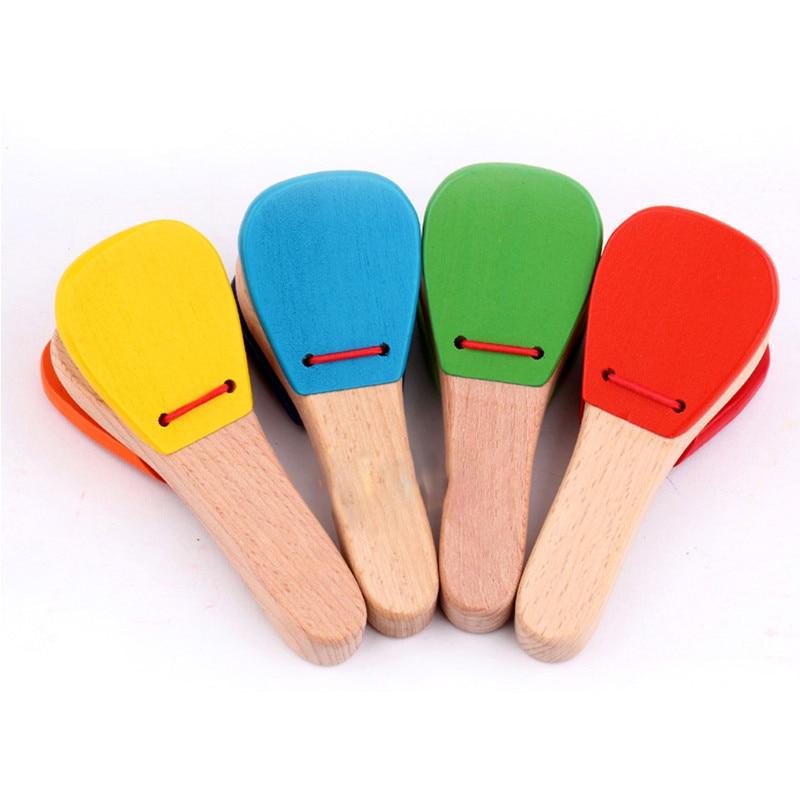 Juguete de madera para bebés, instrumento Musical, de castañuelas claqueta, instrumento Musical de juguete para niños, preescolar educación temprana