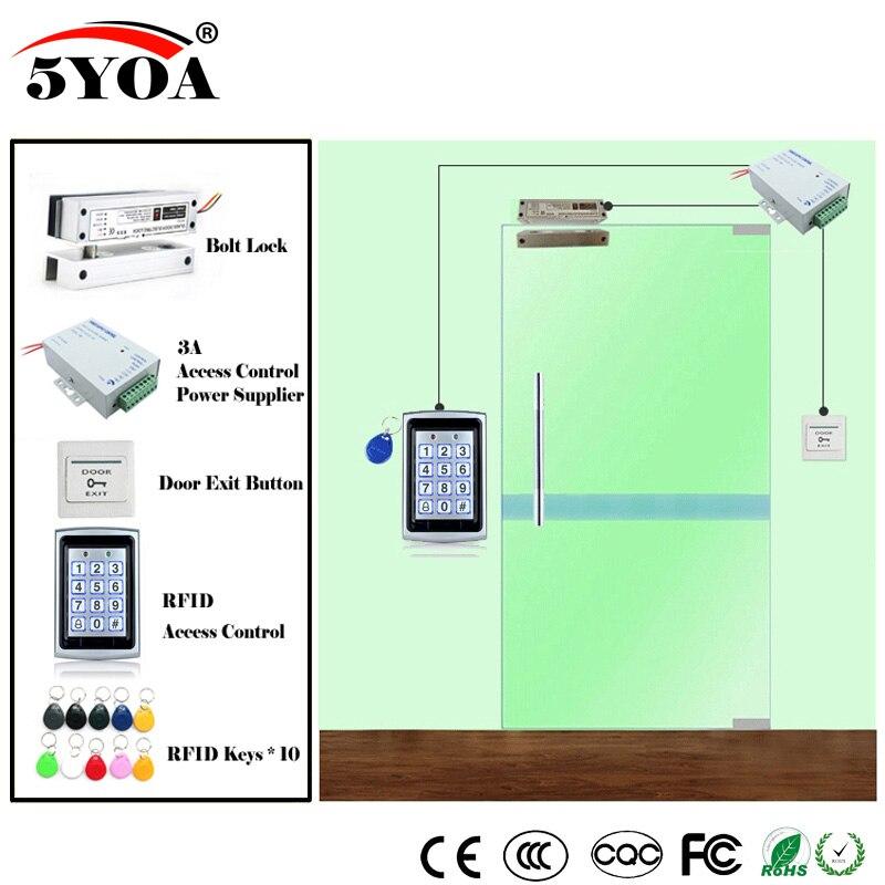 Система контроля доступа RFID, комплект деревянных стекол, дверной комплект + Электрический замок с болтом + клавиша ID-карты + поставщик питания + кнопка выхода