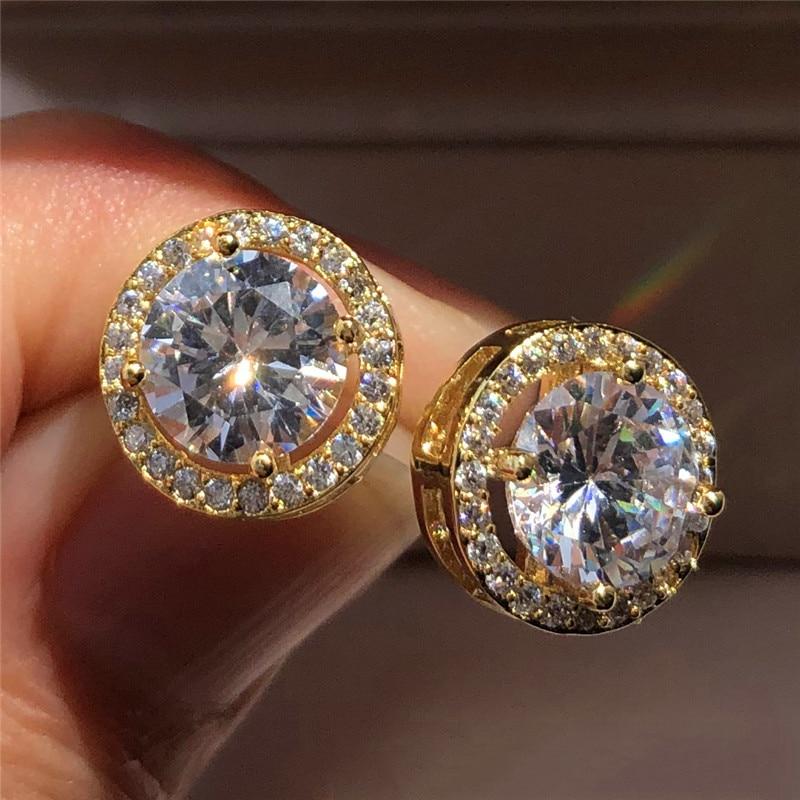 Wanita mewah anting-anting kristal bulat pejantan warna perak antik - Perhiasan fesyen - Foto 5
