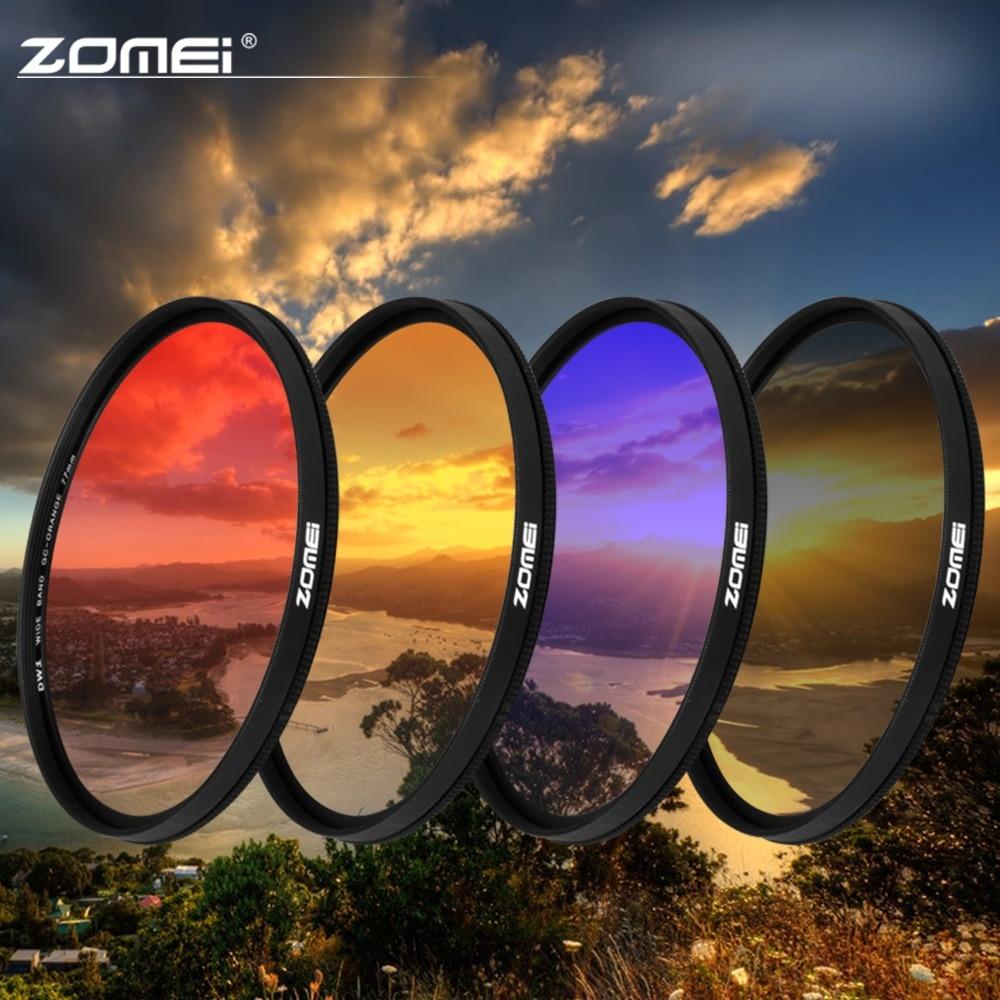 Zomei 40.5/49/52/55/58/67/72/77/82mm quadro ultra magro graduado cinza (nd) azul laranja vermelho filtro kit para câmera slr dslr