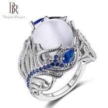 Bague ringen moda criado moonstone pena design 925 anéis de prata esterlina para as mulheres do vintage azul safira anel de pedra preciosa