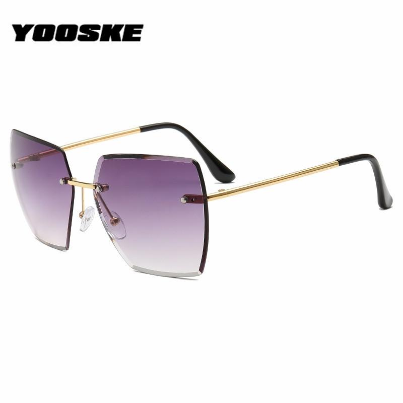 Gafas de sol cuadradas sin montura YOOSKE para mujer sungalsses, diseño de marca, montura metálica de alta definición, lentes con gradiente para mujer UV400