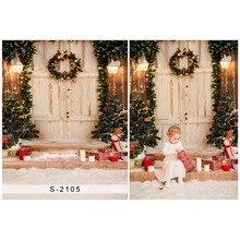 5X7ft Vintage porte en bois vinyle photographie fond arbre de noël et boîte-cadeau galerie décors pour Studio Photo