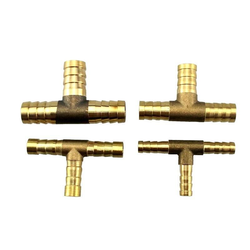 Conector de manguera tipo T de conexión de lengüeta T de latón para manguera ID 6,8, 10,12 14 16 mm