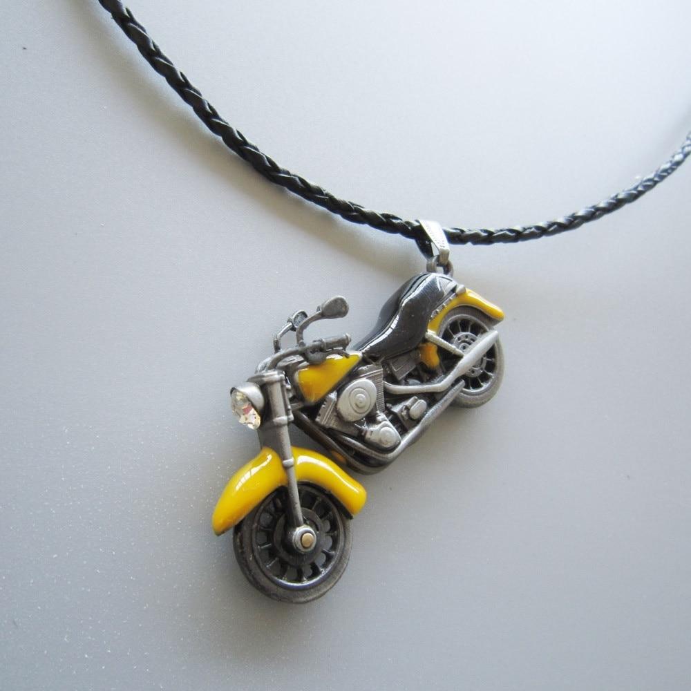 Motorcycle Rhinestone Spinner Metal Charm Pendant Leather Neck Tie
