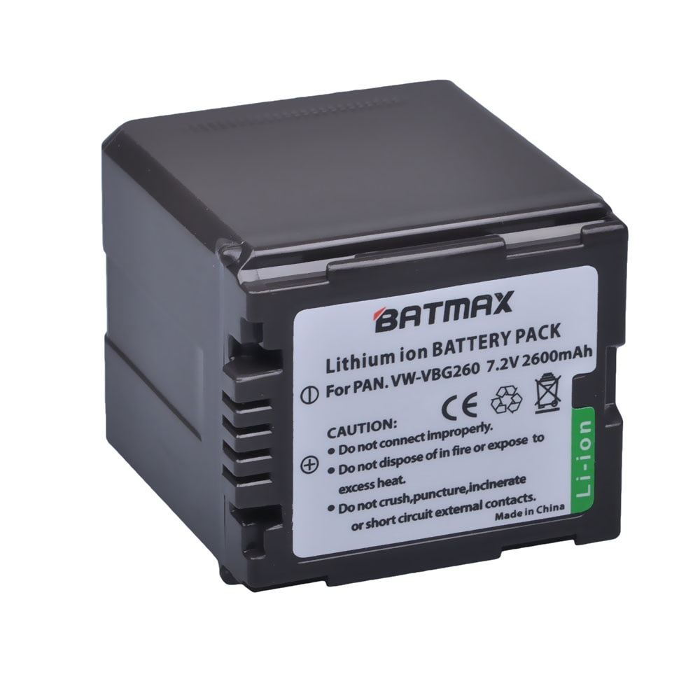 Batmax 1 pc 2600 mAh VW-VBG260 VW VBG260 VWVBG260 Rechargeable Caméra Batterie Pour Panasonic HS250 SDR-SD7 HDC-MDH1 HDC-SD1 HDC-SD3