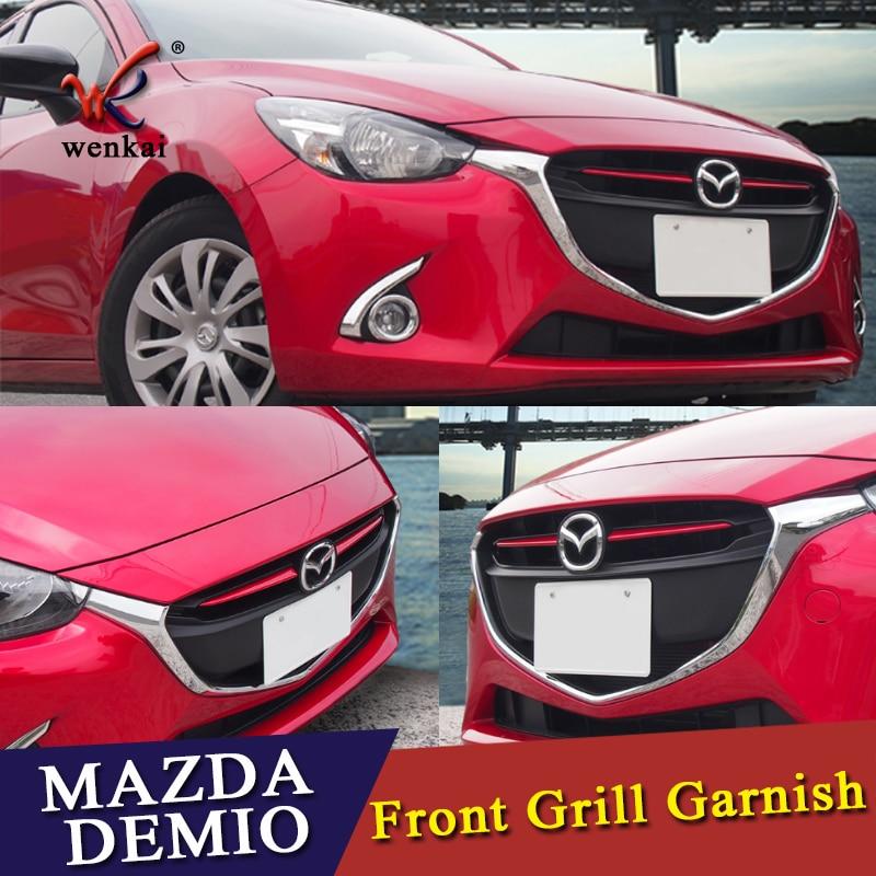 Хромированная передняя решетка гриль крышка отделка Литье для Mazda 2 Demio 2015 2016 2017 DJ DL Mazda2 хэтчбек седан аксессуары Стайлинг