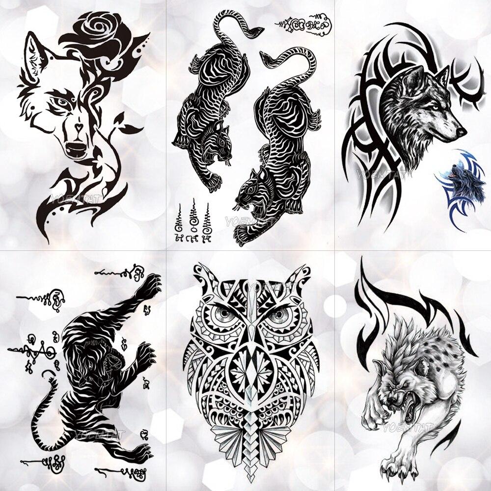 Tatuaje temporal a prueba de agua Thailand Thorn Tiger Totem, tatuaje de la autoridad del valor, tatuajes Flash maorí, arte corporal, brazo, Tatuaje falso, hombres