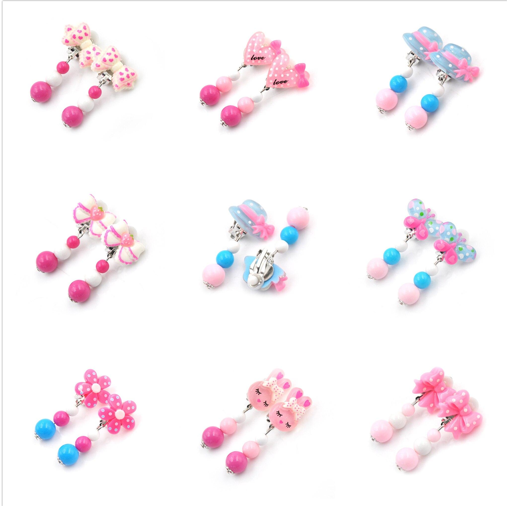 1Pair Mixed Styles Lot Ovely Cartoon Children Jewelry Baby Girl Earrings Kids Ear Clip On Pierced Alloy Painless Earrings