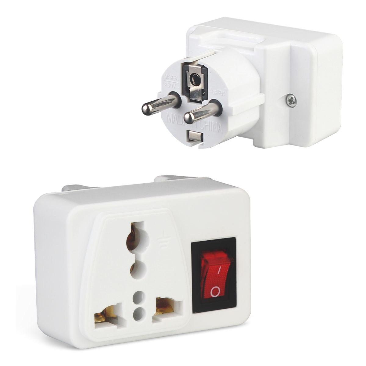 Prise électrique universelle avec interrupteur marche/arrêt chargeur de voyage International adaptateur de prise de courant EU GDeals