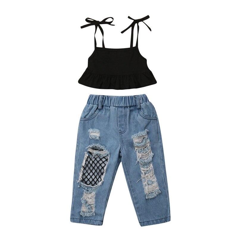 2019 caliente niños bebés niñas chaleco Tops + Pantalones vaqueros rasgados Red de pescado 2 piezas ropa