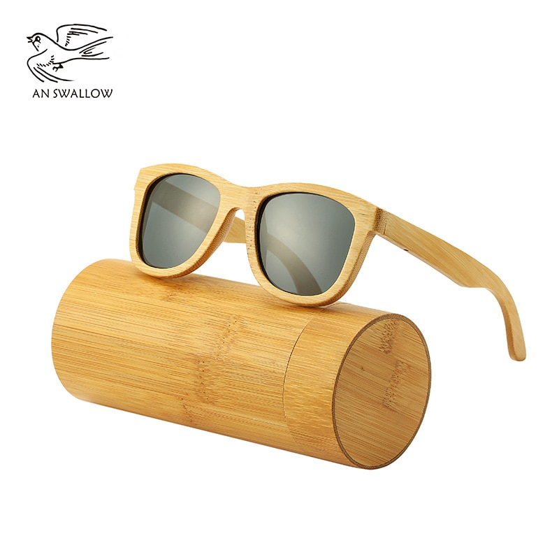 SWALLOW Real 100% wooden sunglasses, polarized bamboo UV400TAC lens, anti-ultraviolet and anti-glare