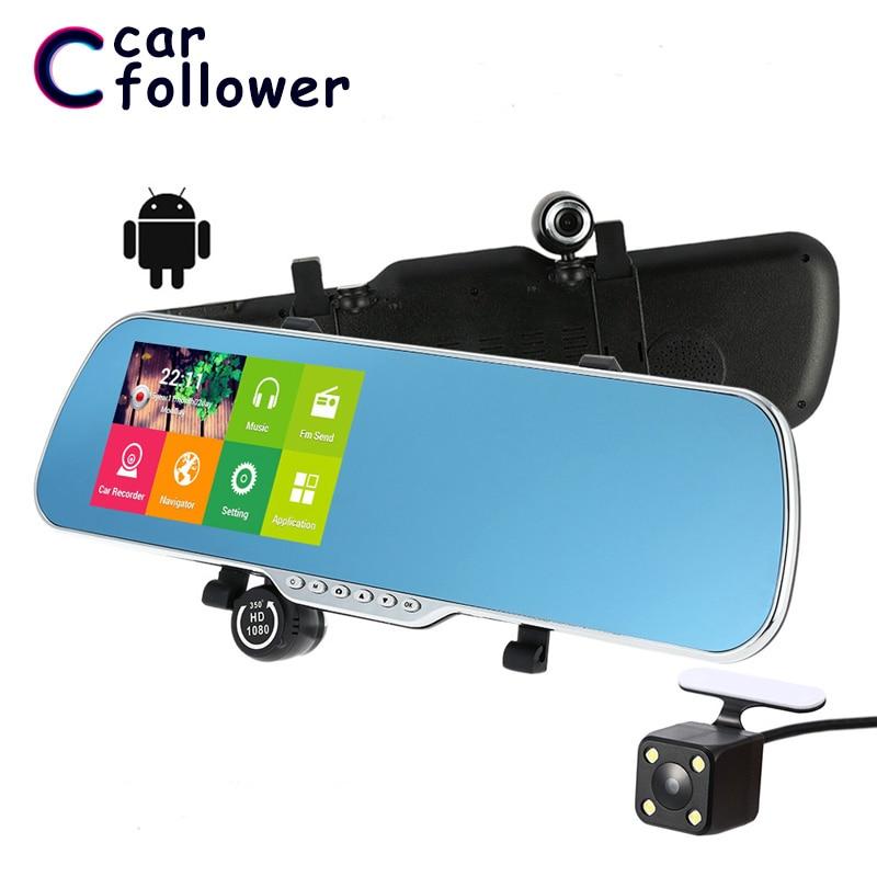 5 pulgadas Android 4,4 FHD 1080P cámara de salpicadero era GPS navegación Wifi coche DVR espejo retrovisor cámara de salpicadero coche cámara doble lente g-sensor FM