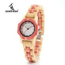 BOBO oiseau V-O11/O12 femmes bambou bois Quartz montre Hexagonall boîtier avec Dimond montre de luxe pour femmes