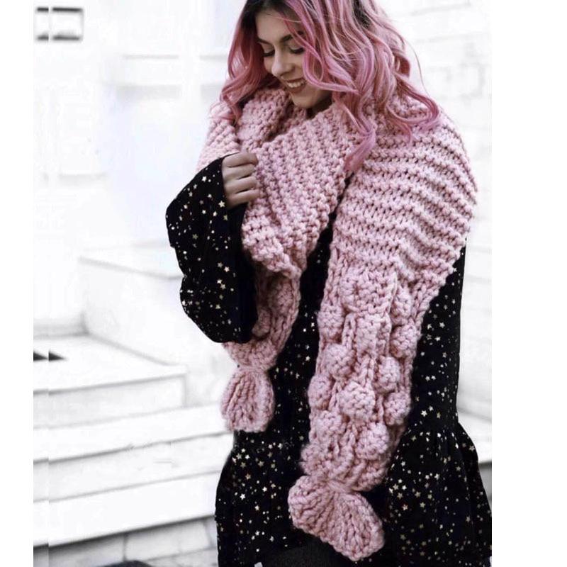 Écharpe de luxe tricotée à la main   Écharpe en perles tissées en 3D, taille XL, châlets en laine grossière pour femmes, écharpes crocheté, fleurs 2018,