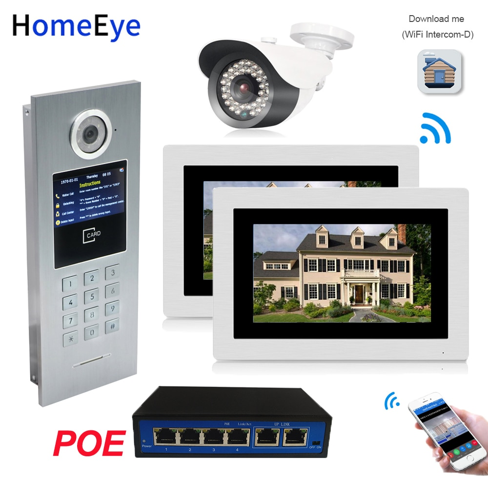 7inch WiFi IP Video Door Phone Video Door Bell Home Access Control System Password/RFID Card + POE Switch+IP Camera iOS Android