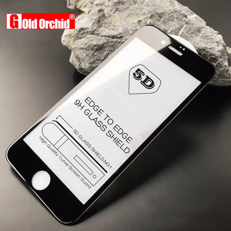 5D curva funda completa templada de vidrio para iphone 6 7 Plus cristal protector en el para iphone 7 8 Plus X película protectora
