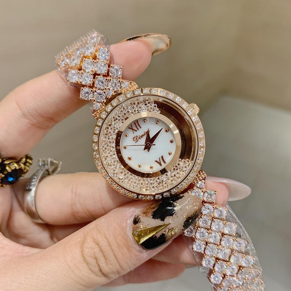Marca de Luxo Cheio de Zircons Pulseira Relógios para As Mulheres Top Da Moda Strass Jóias Assistir Feliz Cristais relógio de Pulso À Prova D Água
