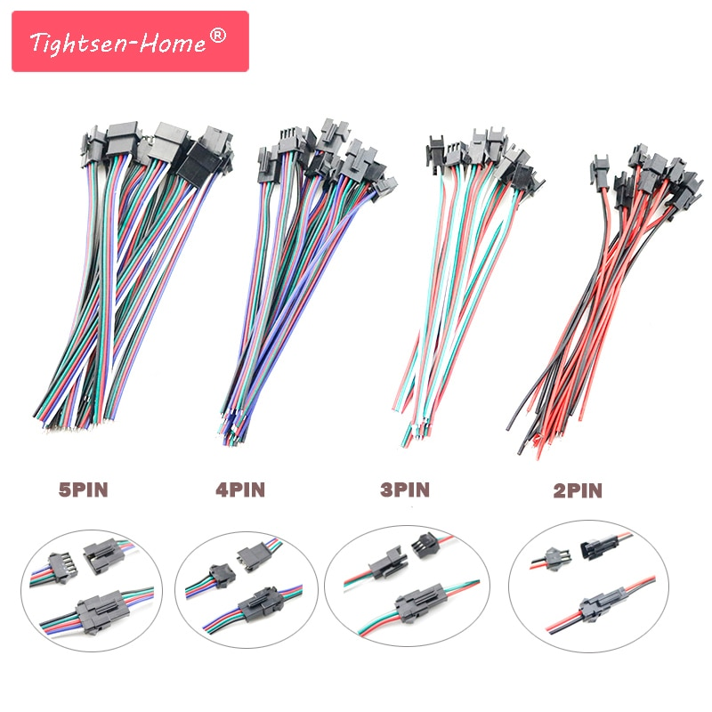 5 pares 2 3 4 5 pin Conector jst SM Conector JST SM Masculino & feminino 2PIN 3pin 4pin 5pin fio Plugue do cabo pigtail para tira conduzida