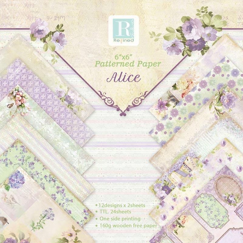24 Sheets Romantic Scrapbooking Paper Handwork DIY Paper Craft Origami Art Album Card Background Decor Craft Supplies 15*15cm