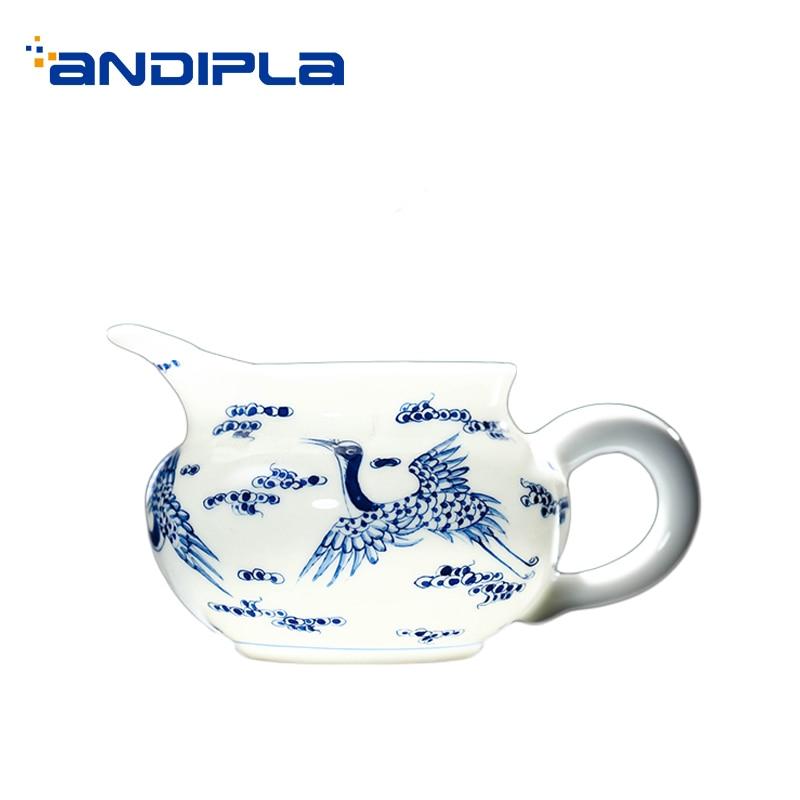 170ml Jingdezhen Hand Painted Crane Pattern Fair Cup Home Porcelain Teaware Kung Fu Tea Set Accessories Cha Hai Coffee Milk Mugs