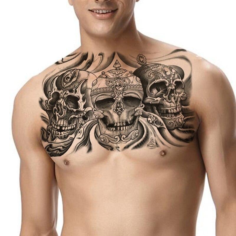 Tatuaje temporal esqueleto chicos tatuaje falso sexy hombres tatuaje corporal tatuajes grandes negro cráneo y dragón impermeable tatuaje hombro brazo