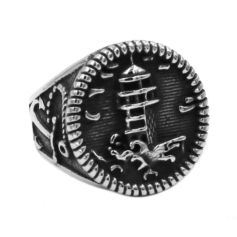 Оптовая продажа, байкерское кольцо с якорем и маяком, ювелирные изделия из нержавеющей стали, классическое винтажное байкерское кольцо с мо...