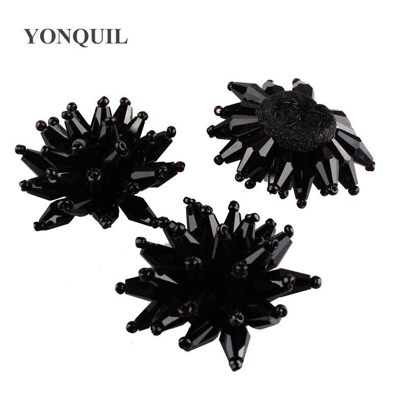 Nova moda 40mm cristal redondo costurar em strass botões garra definir feltro volta fantasia para chapéus vestido acessórios 12 pçs/lote