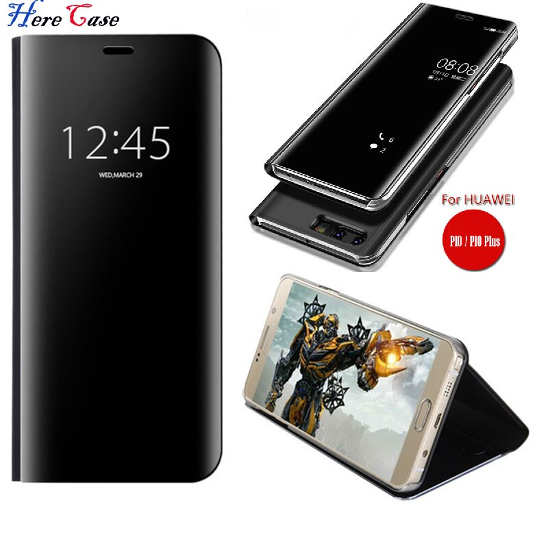 Para Huawei Mate 10 Pro inteligente claro espejo retrovisor para Huawei P20 P10 más P9 P8 lite 2017 Honor 8 lite mate 9 pro Flip cubre