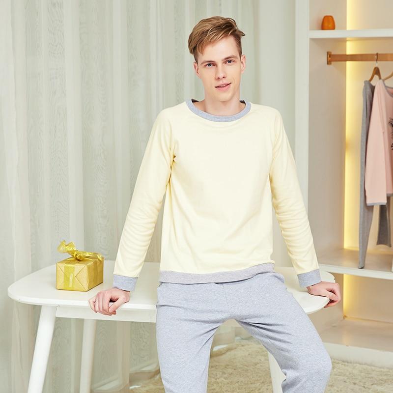 Мужские пижамные комплекты с длинными рукавами для дома Повседневная одежда для Мужчин Ночные рубашки Хлопок Топы + Брюки