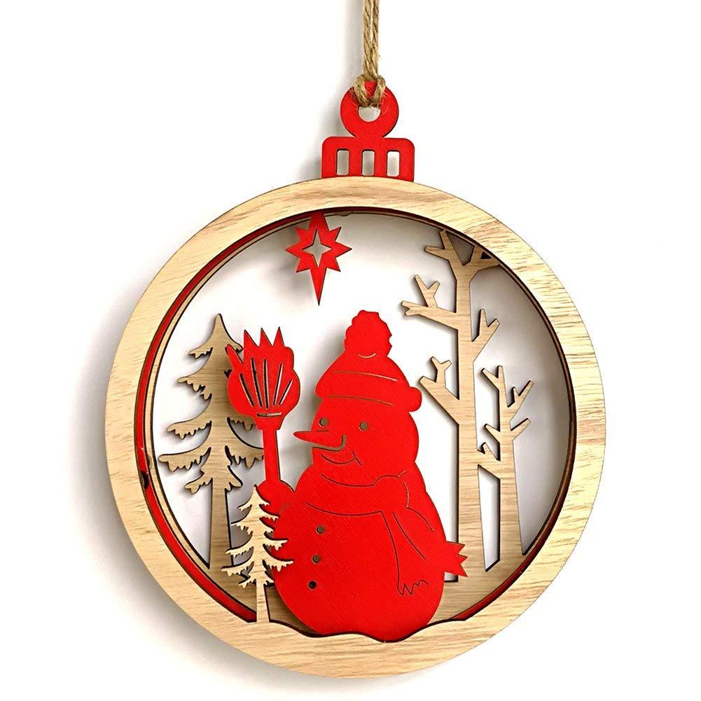 NOCM Home Wooden Christmas 3D Large Bulb Shape Pendant Decoration Cute Interior Decorations Pendant for House Firepalce Chrism