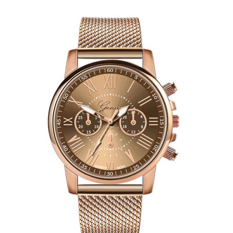 Reloj de pulsera de cuarzo de lujo, esfera de acero inoxidable militar, correa de cuero, reloj de mujer dorado, reloj femenino 2019 F1