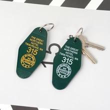 التوأم قمم سلسلة مفاتيح كبيرة الشمال فندق غرفة #315 مفتاح العلامة المفاتيح الاكريليك كيرينغ للنساء الرجال مجوهرات الأزياء
