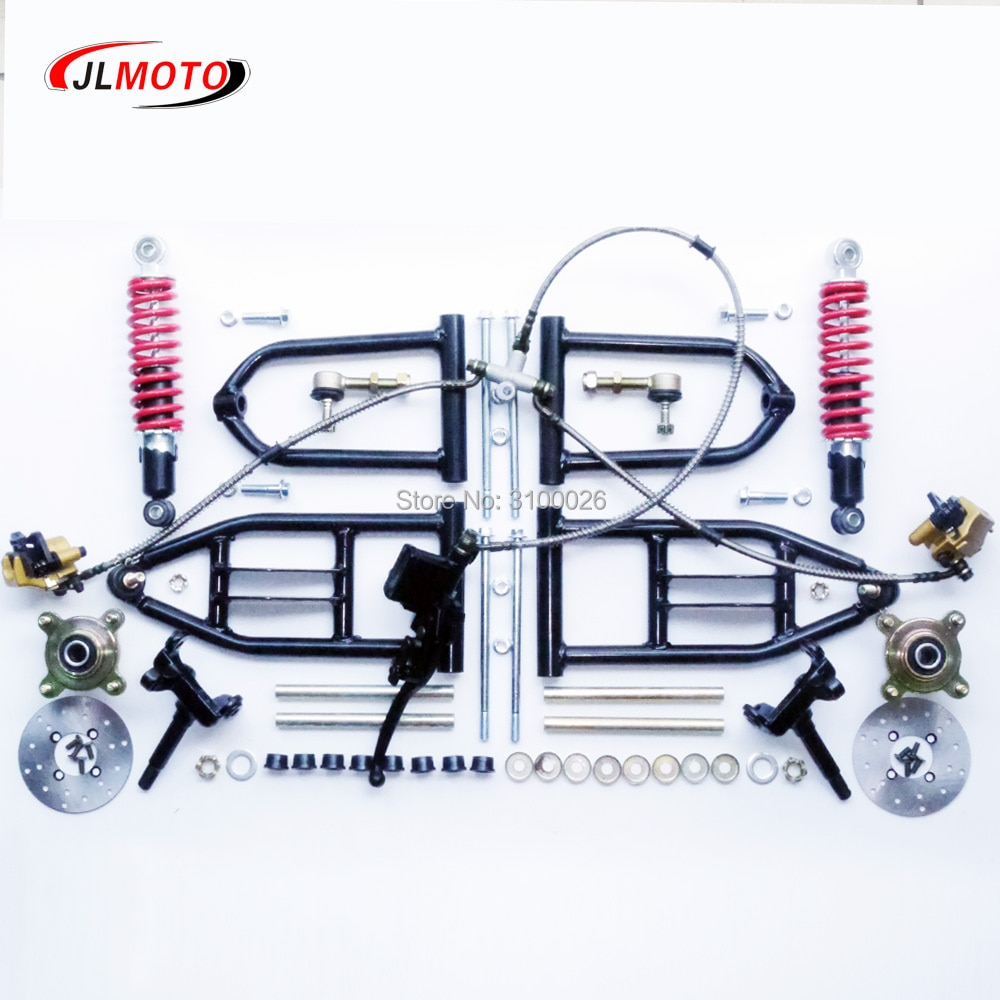 1Set 340mm Suspension 250mm Shock Swing Arm Steering Knuckle Spindle with 110mm Disc Brake 4 STUD Wheel Hub Fit For Buggy ATV