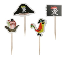24 Pcs Hot Sale Cake Picks Wood Pirate Ship Theme Fruit Ice-cream Topper Signs Party Decor Children Birthday Boat Skull Flag