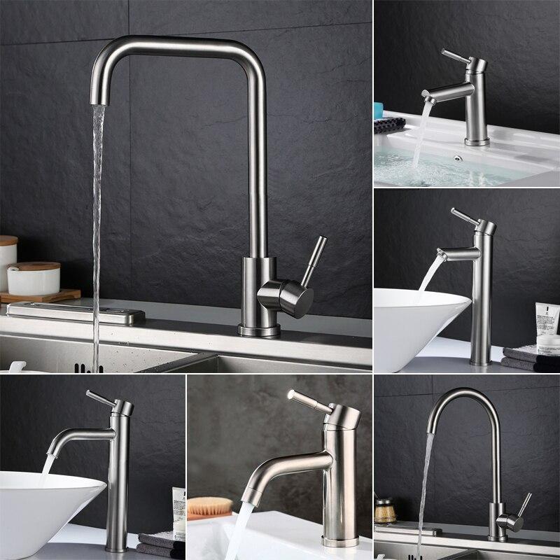 صنبور مطبخ من الفولاذ المقاوم للصدأ ، حنفية حوض الحمام بمقبض واحد ، خلاط مياه ساخنة وباردة
