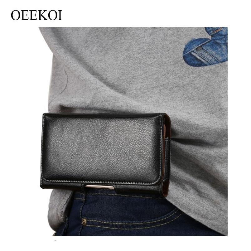 Oekoi Funda de cuero auténtico con Clip para cinturón para Alcatel 3 2019/3L 2019/Valon V/1 S/IdealXTRA/3L/A30 Fierce/A30 Plus