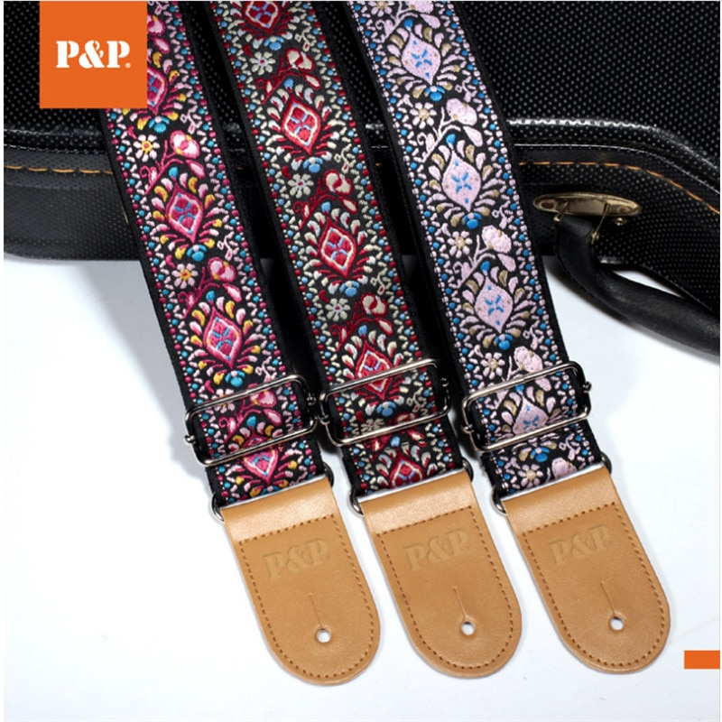 Correa de guitarra jacquard bordada P & P con estilo étnico longitud ajustable para bajo acústico eléctrico piezas accesorios para guitarra