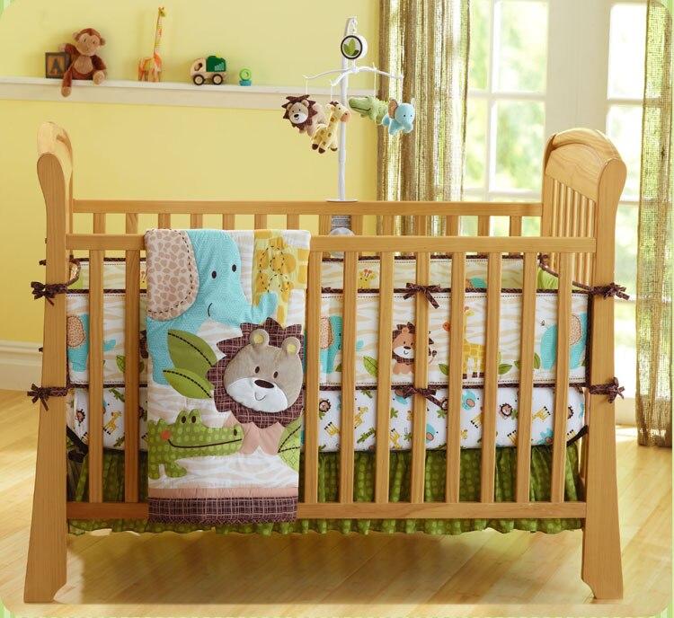 Ensemble de literie bébé brodé 7 pièces   Berceau en coton, tour de lit, 4 pare-chocs + couette + housse de lit + jupe de lit