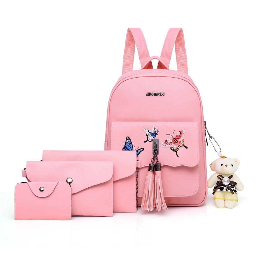 PU Leather Women Backpack High Quality Small Ladies Tassel 4 Pieces Set School Bags For Teenage Girls Fashion Female Travel Bag