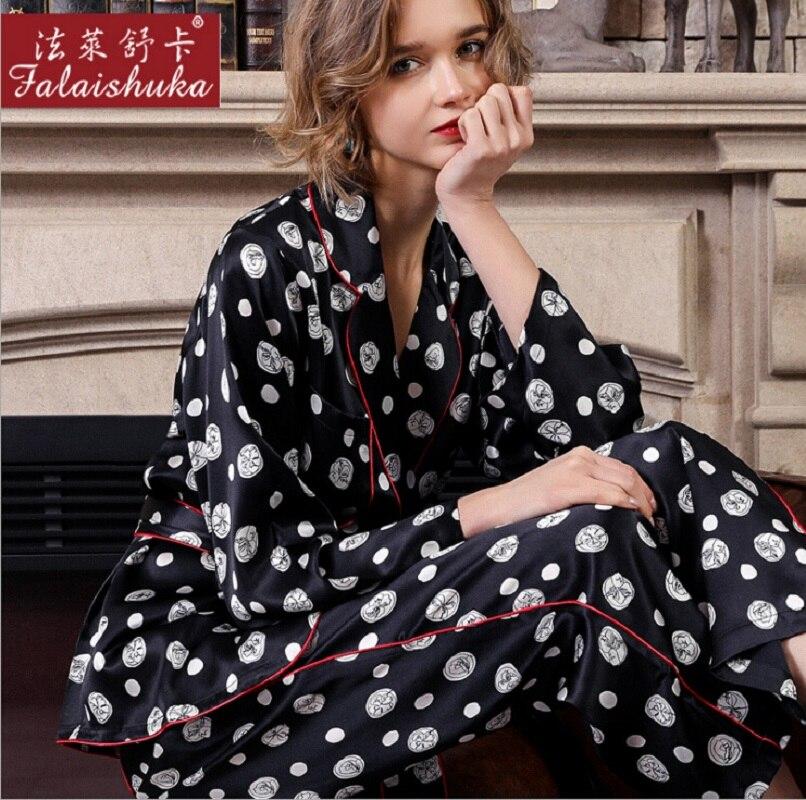 Silk Pajama Sets Pants Dot Plus Size Sexy Two Piece Set Home Wear Woman2019 Summer 100% Silk Stain Pajama Set Sleepwear