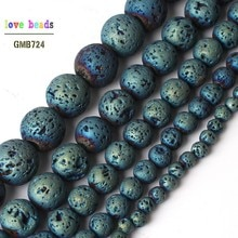 4/6/8/10/12mm électroplaqué bleu volcanique lave ronde perles de fusée en vrac pour la fabrication de bijoux bricolage Bracelet 15 pouces