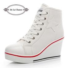 Femmes chaussures décontractées dames à talons hauts plate-forme baskets femmes chaussures compensées Zapatillas Mujer chaussures à semelle épaisse en toile pour les femmes